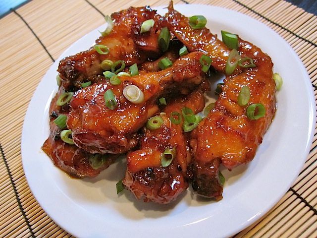 Asian Sticky Wings on white plate
