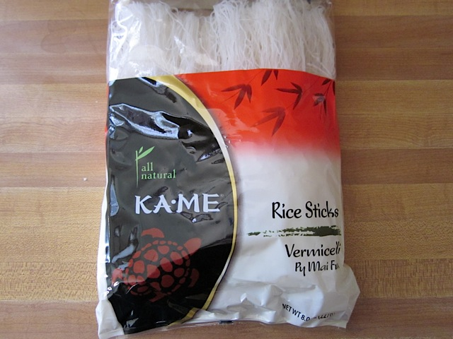 rice sticks, rice vermicelli in packaging