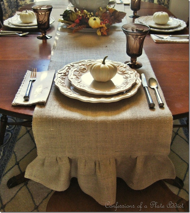 burlap runner - 20 things I love about fall