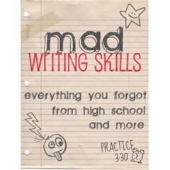 mad writing skills button