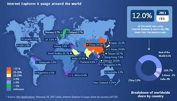 微软发布IE6用户全球分布图