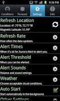 Screenshot of Aurora Alert
