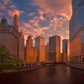 Windy City by Cristobal Garciaferro Rubio - City,  Street & Park  Neighborhoods ( clouds, sky, sunshine, chicago, river )