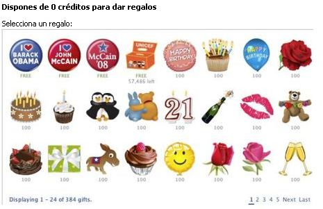 Regalos en Facebook - Free Face Gifts