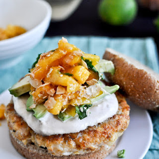 Shrimp Burgers with Chipotle Cream & Coconut Peach Salsa.
