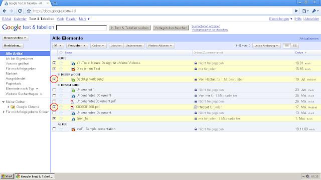 Docs Backup: Bestimmte Dateien auswählen