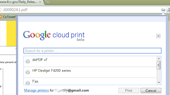 Google Chrome: Cloud Print