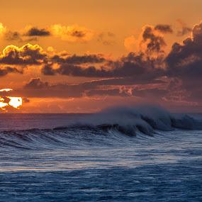 Halealono Sunset by Jason Rose - Landscapes Sunsets & Sunrises ( halealono, sunset, molokai, surf, hawaii )