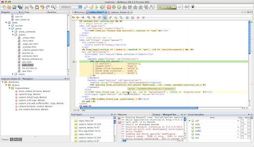 Tor Norbye's Blog: Ruby Screenshot of the Week #11: Rails