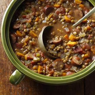 Lentil & Chicken Sausage Stew.
