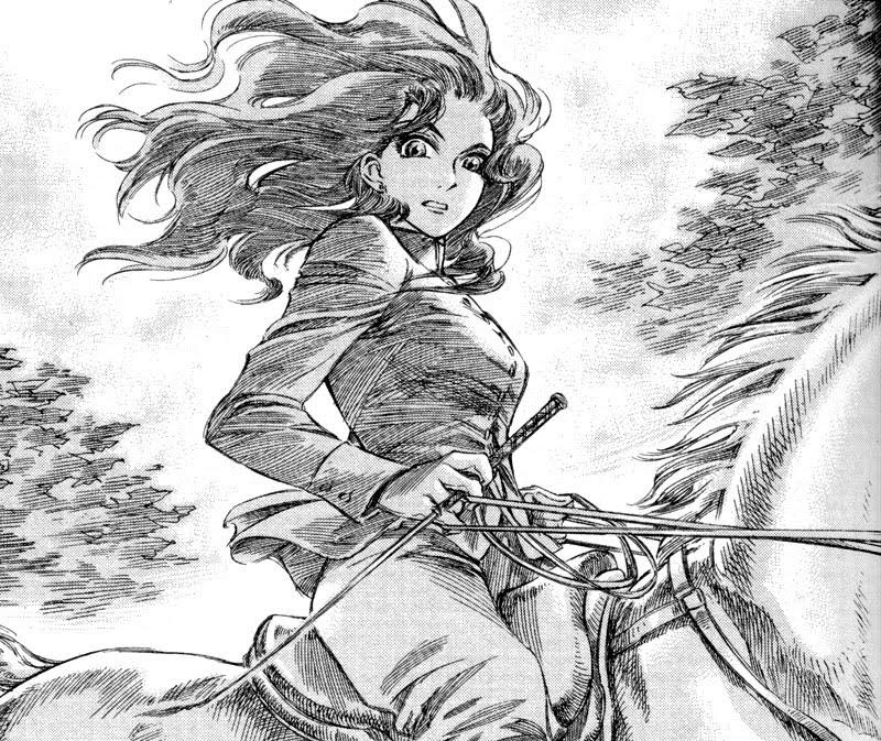 Dorothea on horseback.