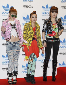 2NE1 kick it at Jeremey Scott's AdiOriginals party
