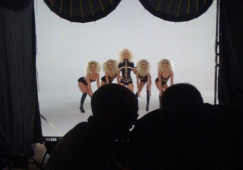 Sneak peek shot of Christina on the set of 'Not myself tonight'