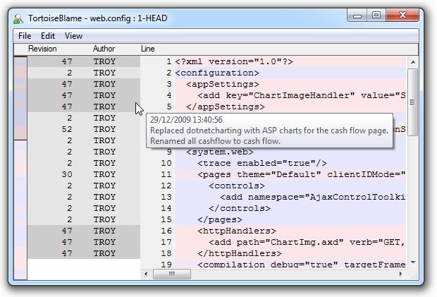 A blame log with a descriptive log message