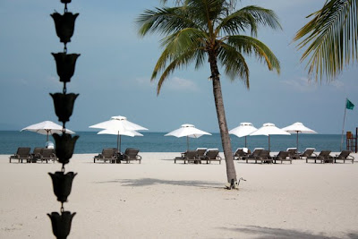 Beach at the Four Seasons hotel in Langkawi Malaysia