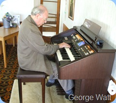 Past-President, George Watt, giving the venerable GA3 a good work-out for our musical pleasure.