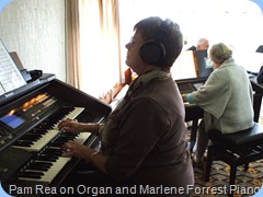 Pam Rea enjoying the Club's GA3 whilst Marlene Forrest entertained us on the Clavinova. Pam is an organ fan from way back when.