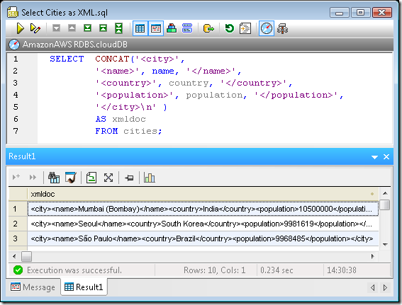 Using the Concat( ) function to add XML elements to data from a non-XML table