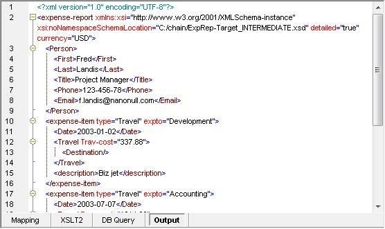MapForce Output Preview window