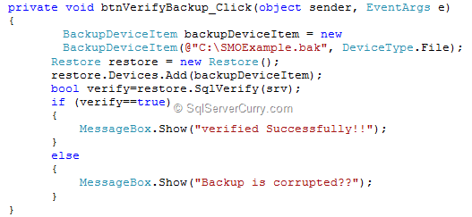 SQL Server SMO Verify Database