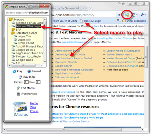 iMacros, the macro recorder extension for Chrome - Instant