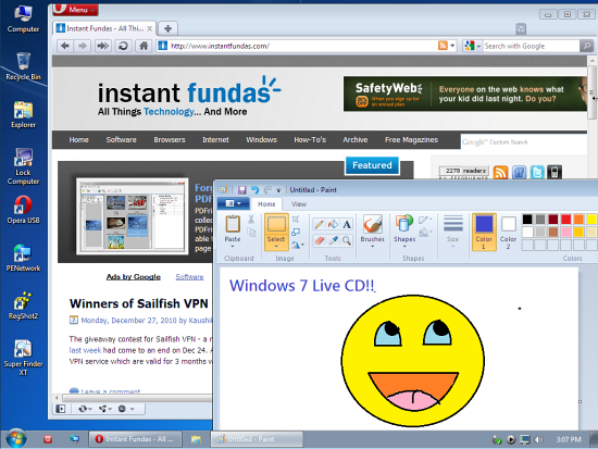 create a windows 7 live usb