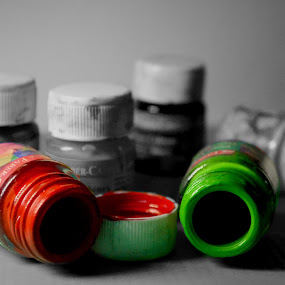 color blind by Bhaskar Kalita - Artistic Objects Other Objects ( red, selective color, colorful, green, colors, bottles )
