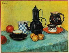 Still Life: Blue Enamel Coffeepot, Earthenware and Fruit