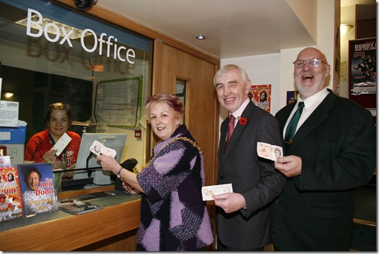 l-r In the Box Office  Philippa Unett, Marketing Manager at the Lyceum Theatre Crewe  with l-r Mayor and Cheshire East Cllr. Jacquie Weatherill,  Cllr. Brian Silvester and Cllr. John Jones.