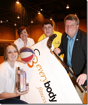 l-r       Becky Snelson, Duty Manager,    Maria Tatters, Macclesfield Leisure Centre Manager, Dan Lyons, Recreation Assistant  and     Cllr. Andrew Knowles,
