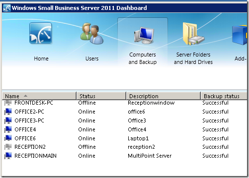 MultiPoint Server in the SBS 2011 Console