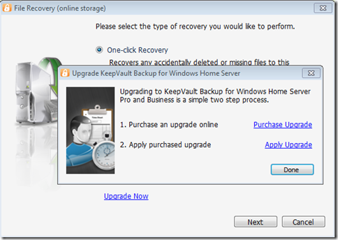 Upgrade KeepVault Backup for Windows Home Server