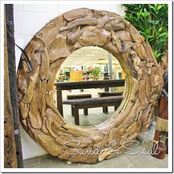 wood round mirrors