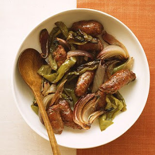 Turkey Sausage with Peppers and Onions.