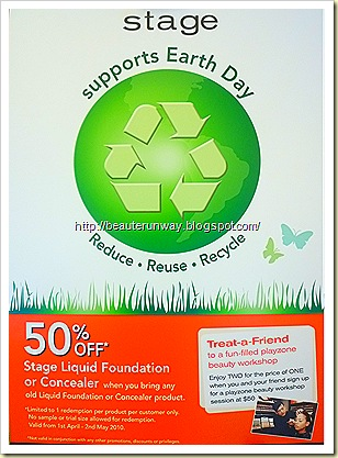 Stage Cosmetics Earth Day Recycling Promotion