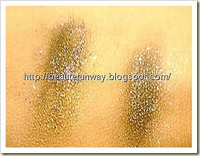 Swatches of sun shower with eye eyeshadow, lagoon glitter, moonshine with eyeshadow in black with gulit glitters