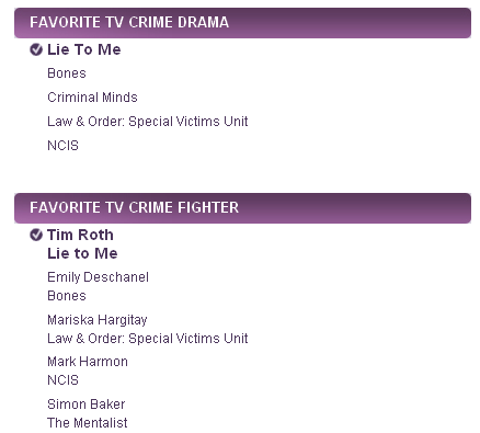 People's Choice Awards 2011 Nominees - lie to me
