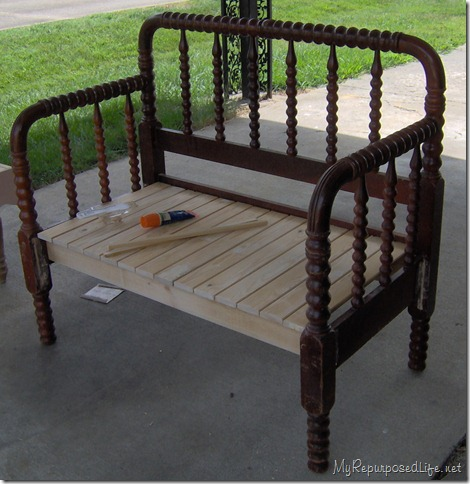 twin headboard spool bench