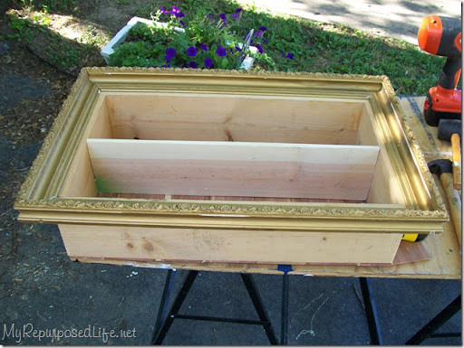 I used some painteru0027s caulk to fill in the cracks at the corners of the frame. & Picture frame shadow box tutorial - My Repurposed Life® Aboutintivar.Com