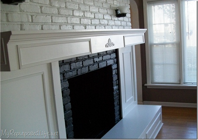 Brick fireplace makeover my repurposed life - How to make a brick fireplace look modern ...