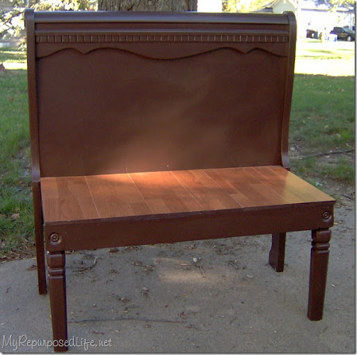 Cool sleigh bed repurposed into bench