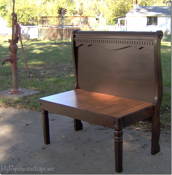 repurposed headboard bench using a sleigh bed