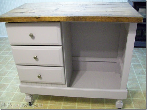 Repurposed Desk Kitchen Island