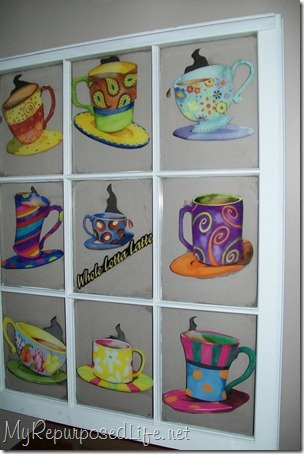 coffee cup decoupaged window
