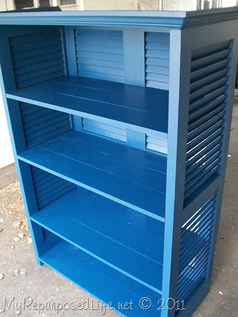 repurposed shutters book case