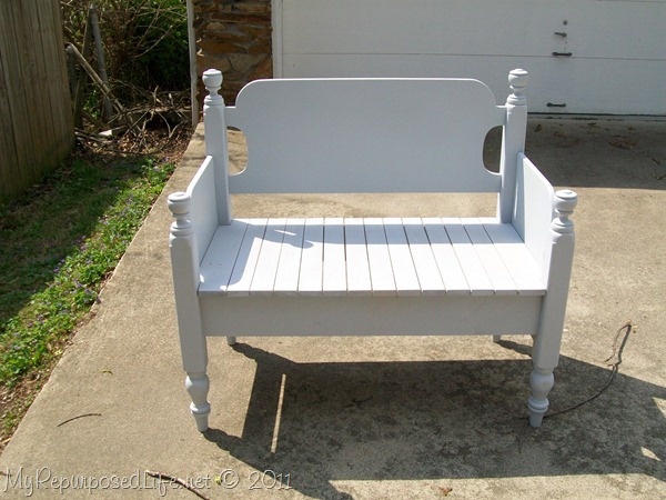 white twin headboard bench