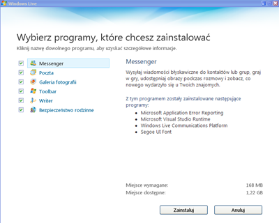 Wybór programów z pakietów Windows Live