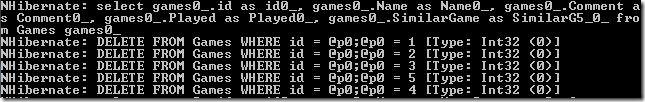 Wykonane zapytanie Deleted przetlumaczone SQL w NH