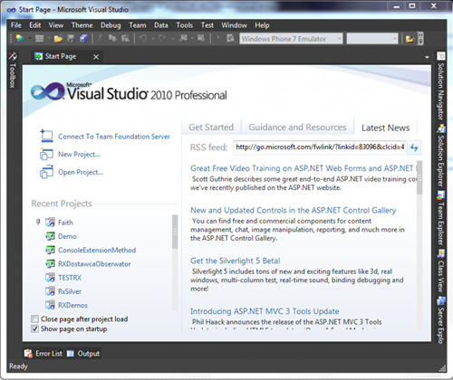 Okno programu Visual Studio 2010