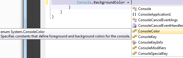 Console background w Visual Studio 2010